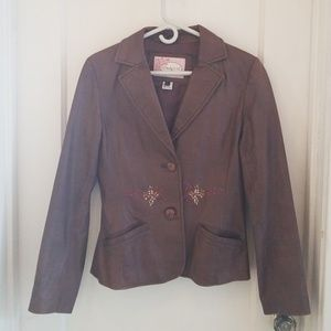 Brown leather embroidered jacket